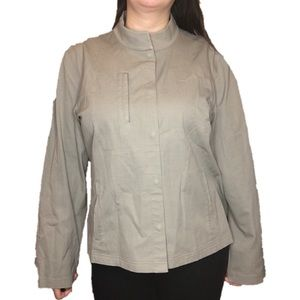 Eileen Fisher Taupe Snap Jacket - Size XL